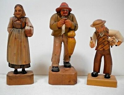 Vintage ANRI Wood Carved Figure lot 3 Peasant People with Pig Chicken Animals