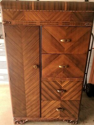 Beautiful High Top Antique 1920-1930's Water Fall Dresser w/ Cedar Compartment