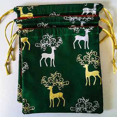 2 sided RED/GREEN CHRISTMAS Fabric Drawstring Gift Bags (Pk 3) NEW MATERIAL