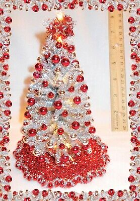 "New Ooak 8""lighted Silver Dollhouse Miniature Christmas Tree Mid-Century Modern*"
