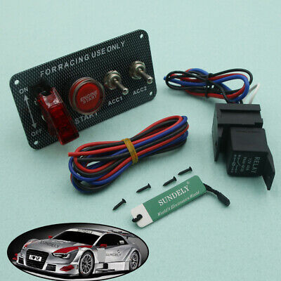 Ignition Switch Panel Engine  Starter Push Button LED Toggle Racing Car 12V NEW