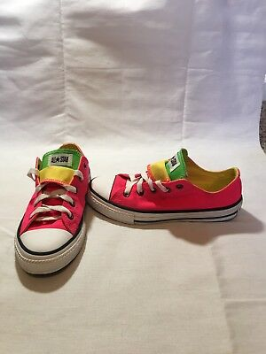 Converse All Star Chuck Taylor Girls Neon Pink Double Tongue Shoes--size 2 Y 4816ccc94