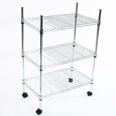 Heavy Duty 3 Tier Wire Shelving Rack Cart Unit w/Casters Shelf Wheels US Chrome