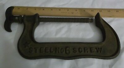 Early PS&W Co. Steel C Clamp No. 6 Screw Pat. 1888 Antique Hand Tool Woodworking