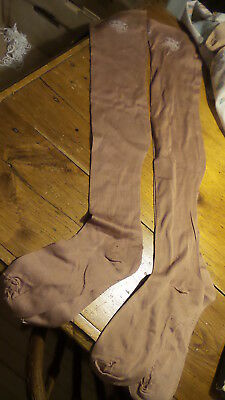 Antique Early  LADIES' FLESH COTTON LONG STOCKINGS Sz 10-1/2,  Ribbed, 29""