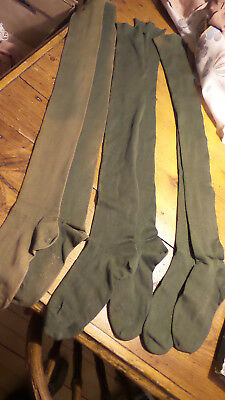 Antique Early 1900's CHILDREN'S OLIVE GREEN COTTON LONG STOCKINGS Ribbed, 24""