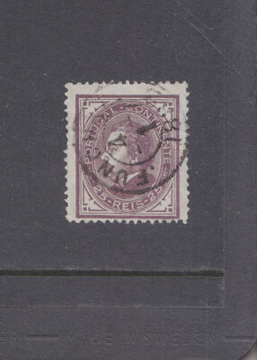 PORTUGAL-1880-KING LUIZ-25R BROWN-SG 183-FUNCHAL 1882 CDS-FINE USED-$6-freepost