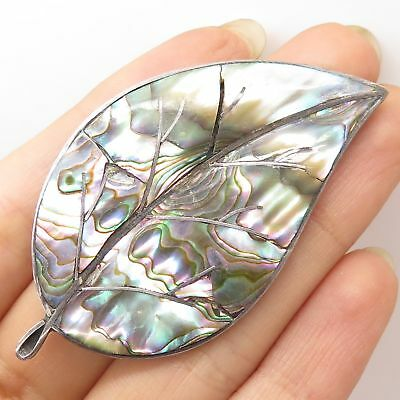 Vtg Mexico 925 Sterling Silver Abalone Shell Large Leaf Pin Brooch
