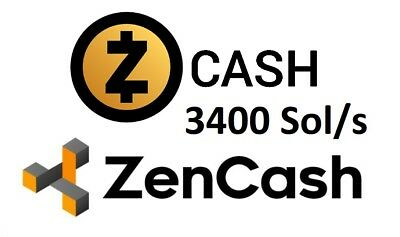 Zcash or ZenCash Mining Contract 3400 sol/s - 24 Hours