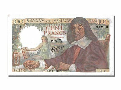 [#201043] France, 100 Francs, 100 F 1942-1944 ''Descartes'', 1942, KM #101a