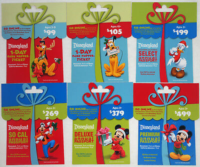 All 6 Different DISNEYLAND Passport Holiday Gift Cards 2011:Mickey,Minnie,Pluto+