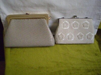 "Vintage Handbags X 2 (Two) Beaded X 1 & Metal ""sterling Mesh"" With 3 Way Use X 1"