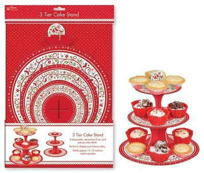 PACK OF 2 - 3 Tier Disposable Christmas Cardboard Cup Cake Food Stand Xmas Food