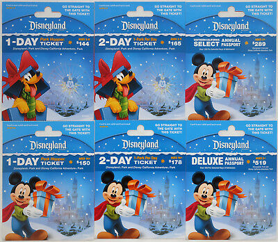 All 6 Different DISNEYLAND Passport Holiday Gift Cards 2014: Mickey and Pluto