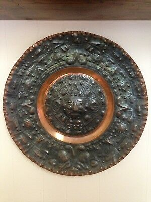 "Large Vintage Solid Copper 19.5"" Mayan Calendar Wall Plague"