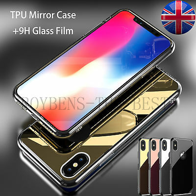 For iPhone X/8/7/6/5 S SE Plus Case Mirror Back Clear Glitter Bling Hybrid Cover