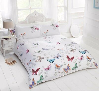 Bedding Heaven MULTI COLOUR BUTTERFLY DUVET COVER With Pillowcases. MARIPOSA.