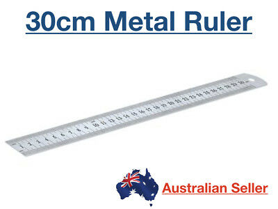 30cm Dats Stainless Steel Metal Ruler Standard Metric/Imperial Silver Quality