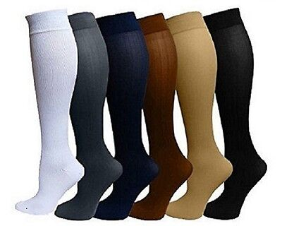 (6 Pairs) Compression Socks Stockings Graduated Support Men's Women's (S-XXL)