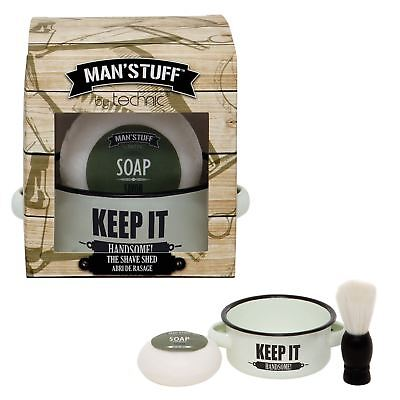 Technic Man'Stuff Shave Shed Shaving Brush Shaving Soap Shaving Bowl Gift Set