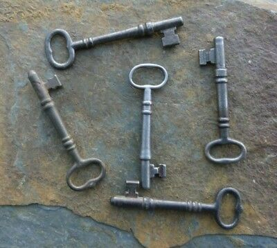 "Five Chunky Antique  Mortise Lock Skeleton Keys  Antique Door  Keys  2-12"" to 3"""