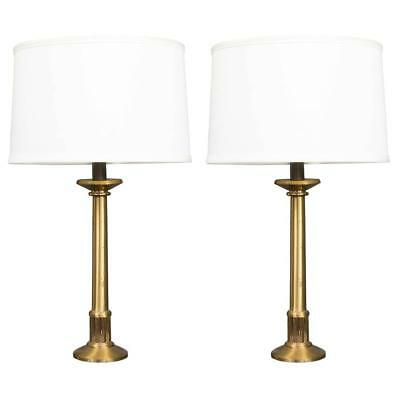1920's French Brass & Bronze Pair Of Table Lamps