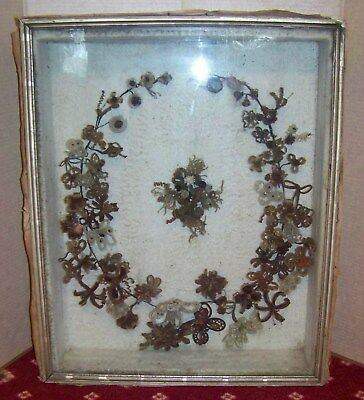 victorian large mourning hair wreath shadow box