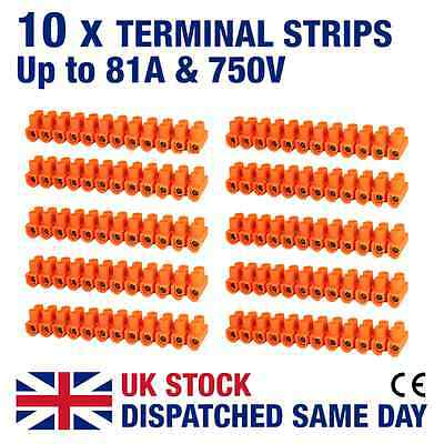 10 x 12 Way Terminal Block Strips up to 81 Amp - Electrical Wire Connectors