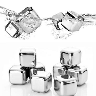 8Pcs Reusable Cooler Ice Cube Glacier Rocks Stainless Steel Stones Home Wine New