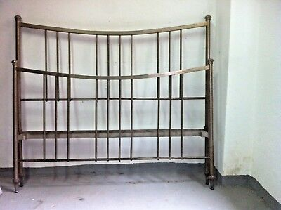 Art Deco double Size  bed-headboard & Foot Part, Spain 1930s Galvanized Chrome