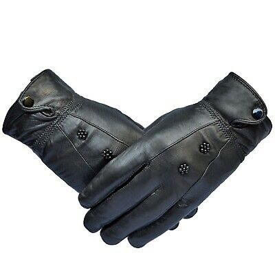 Womans 100% Leather Touch Screen Designer Stylish Winter Driving Ladies Gloves