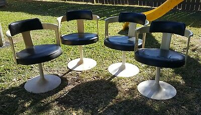 4 VTG MCM Daystrom cream Lucite Swivel Tulip Chair Space Age mid century modern