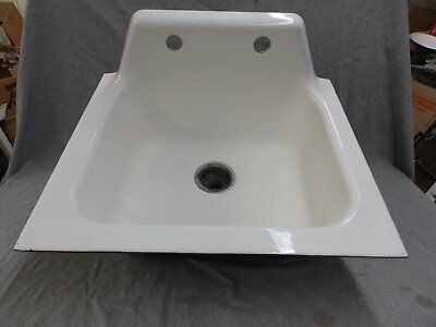 Vtg Cast Iron White Porcelain Drop In Single Basin Kitchen Farm Sink Old 1757-16