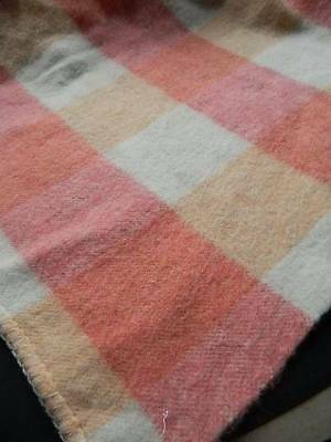 "Vintage pretty pure wool blanket in pink & peach check. 76"" x 100"""