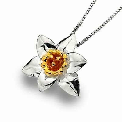 Beautiful Sterling Silver Jewellery: Silver and Gold Daffodil Pendant (14mm x 15