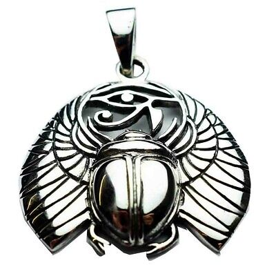 Winged Scarab & Eye Of Horus Pendant Sterling 925 Silver Leather Necklace / Box
