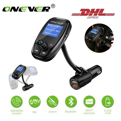 ONEVER Bluetooth FM Transmitter MP3 Player QC3.0 2 USB Auto Ladegerät DC 12/24V