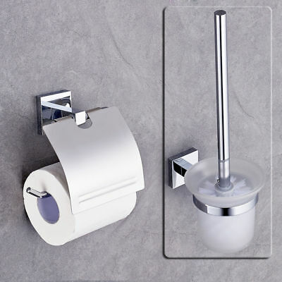 Toilettenpapierhalter + WC Garnitur Bürstengarnituren Toilettenbürste Set Chrom