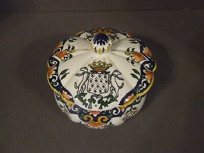 Antique French Faience Val Andre Dresser Jar W/ Lid