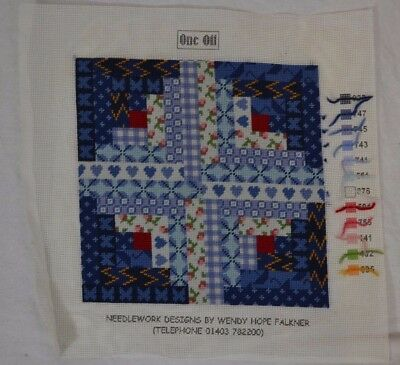 WENDY HOPE FALKNER completed needlepoint tapestry panel blue cottagey design