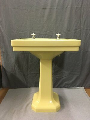 Vtg Ceramic Yellow Viterous China Pedestal Bath Sink Standard Tiffin Old 766-17E
