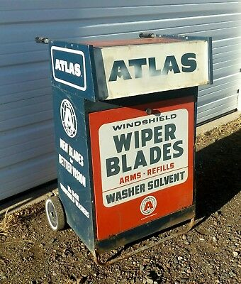 Vintage Service/Gas Station Atlas Wiper Blade and Solvent Rolling Service Cart