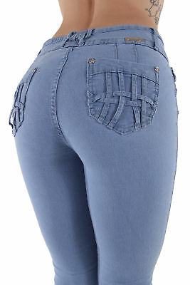 N3506 - Colombian Design, Butt Lift, Levanta Cola, Skinny Jeans in Light Blue