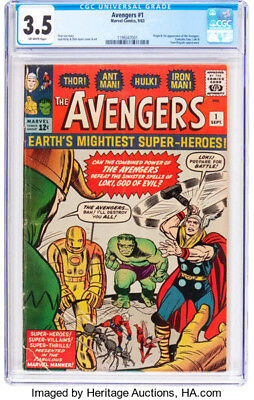 1963 * The AVENGERS #1 * Marvel Comics CGC 3.5 VG- * Off WHITE Pages ORIGIN 1st