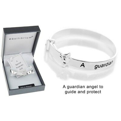 bracelet Equilibrium Silver Plate Christening guardian angel Bangle gift baby
