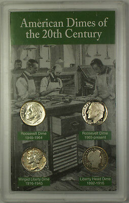 American Dimes of the 20th Century 4 Coin Set American Historic Society