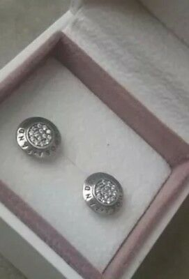 **PANDORA AUTHENTIC Signature Stud Earrings #290559CZ STERLING SILVER S925 ALE**