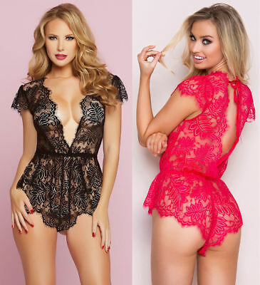 Plus Size Sexy Black Sheer Floral Lace Top Romper Teddy Womens Bodysuit S-2XL