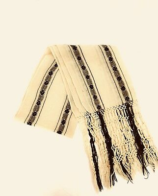 Rare Stunning Vintage 1930's black cream wool Mexican shawl old!