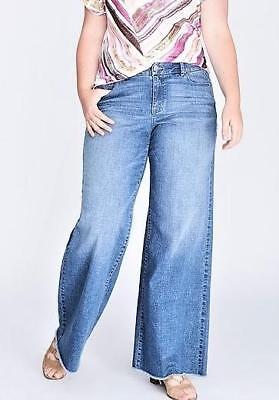 18 20 22 24 26 28 Lane Bryant Mid rise a-line trouser wide leg distressed jeans